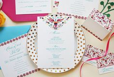 The Colorful Invitation Suite is both elegant and playful! It includes the invitation, main envelope, and rsvp card + envelope. You can customize every aspect of this design or allow me to create a custom design for you! Mexican Wedding Invitations, Wedding Menu Cards, Wedding Stationery Inspiration, Menu Design, Invitation Suite, Cocktails, Unique Jewelry, Handmade Gifts, Etsy