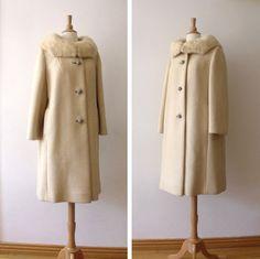 1950s Wool Coat with Mink / Vintage Swing Coat by Vintagedustshop