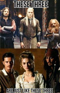 Will turner as legolas because there both played by orlando bloom, jack sparrow as aragorn because they are both the leaders , gimli as Elizabeth because legolas/will care about them dearly