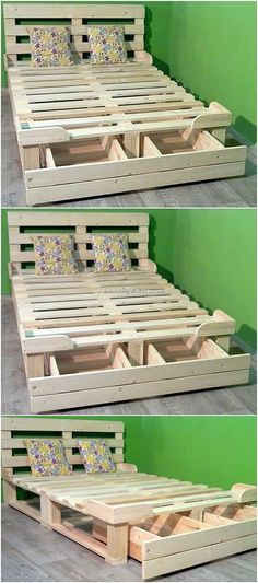 Art of Recycling: 25 DIY Wood Pallet Reusing Projects Diy Pallet Projects Art DIY Pallet Projects Recycling Reusing Wood Wooden Pallet Beds, Diy Pallet Sofa, Diy Pallet Furniture, Bedroom Furniture, Bed Pallets, Pallet Art, Pallet Crafts, Diy Pallet Projects, Pallet Ideas