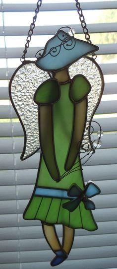 Stained Glass Wall Window Hanging Woman Angel Fig Flapper Hat Drop Waist Dress | eBay