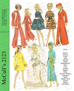 Vintage Barbie and 11 1/2 inch doll clothes sewing pattern - McCalls 2123 - PDF