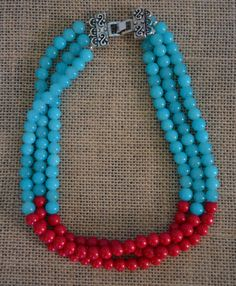 Color Block Beaded Necklace - Red and Turquoise - Three-Strand - Handmade
