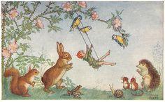 Medici Postcard Pk 229 A S Molly Brett Playtime Fairy on Swing Animals Unused Photo D Art, Beatrix Potter, Fairy Art, Children's Book Illustration, Whimsical Art, Belle Photo, Fairy Tales, Drawings, Artwork