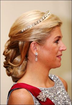 Princess Maxima of the Netherlands (who will become Queen on April 30th) wears the Rose Cut Bandeau tiara.  Humongous diamonds.