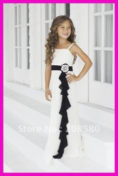 black and white bridesmaid dresses | Cheap Black And White Chiffon Sash Long Junior Bridesmaid Flower Girl ...