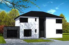 Maison moderne en briques jaunes et toiture 2 pans en tuiles noires ...
