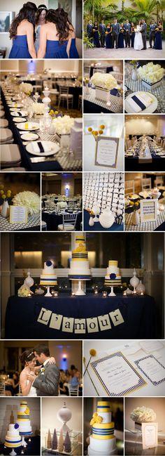 Navy yellow and white wedding