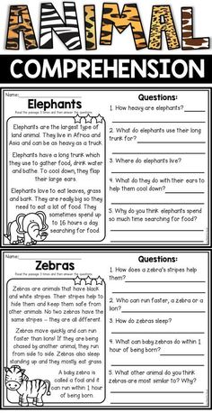 Animal reading comprehension passages for second grade students. These non-fiction passages are perfect to help develop understanding while reading. They also include inferential questions. These are great for literacy centers. First Grade Reading Comprehension, Reading Comprehension Worksheets, Reading Fluency, Reading Passages, Kindergarten Reading, Reading Skills, Teaching Reading, Reading Response, Comprehension Questions