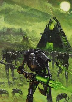 I`m a big fan of warhammer 40,000 and this is perhaps one of favourite pieces of art from warhammer 40,000. I love this piece because it emulates the Necrons perfectly: a Dark, ancient, mysterious race of machines whose number is legion, and their name is death. the fact that the amount of necron warriors stretches off into the distance, and that their the physical appearance is that of a skeleton really supports that sentence that summarises them