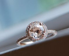 Champagne peach sapphire diamond ring 14k rose gold -- I check on this seller daily to see her new stuff.