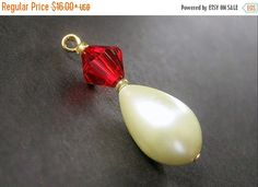 VALENTINE SALE Red Crystal and Pearl Pendant. Pearl Charm. Handmade Charm. Phone Charm Key Chain Zipper Pull or Purse Charm. by Gilliauna from Bits n Beads by Gilliauna. Find it now at http://ift.tt/2kO3mGh!