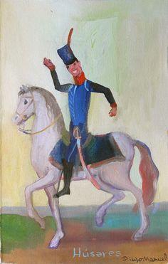Soldado de la Reconquista que baila , del Regimiento Husares de Pueyrredon . Cuadro en venta de la Serie Historia Argentina del artista plastico Diego Manuel