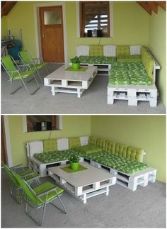 I used old pallets, painted them in white and add cushions to make my new pallet balcony set! Submitted by: Boris Golčman ! Outdoor Furniture Plans, Diy Pallet Furniture, Furniture Makeover, Pallet Lounge, Pallet Sofa, Outdoor Pallet Projects, Pallet Crafts, Recycled Pallets, Old Pallets
