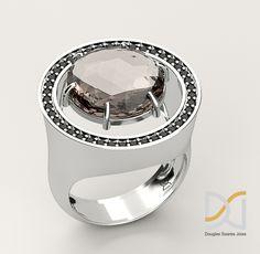 Anel em prata 925, quartzo fumê e espinélios negros.  R$ 460,00   Pagamento via Paypal em até 5 vezes sem juros ou à vista via depósito bancário.