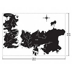Game of Thrones World Map Art Wall Sticker Vinyl Decal WD-0708