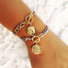 ✖️ Great Alexander Bracelet ✖️ ▫️ Find at www. Greek Jewelry, Gold Plated Bracelets, Steel Chain, Handmade Jewelry, Style Inspiration, Fashion, Moda, Handmade Jewellery, Fashion Styles