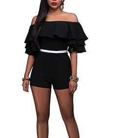 CoCo fashion CoCo Fashion Sexy Ruffle Off Shoulder One Piece Short Jumpsuit Rompers