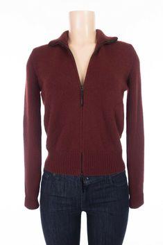AKRIS PUNTO Sweater 8 M Red Wool Cashmere Angora Silk Zip Front Cardigan #AkrisPunto #Cardigan #Casual