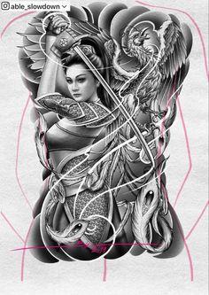 Japanese Phoenix Tattoo, Japanese Geisha Tattoo, Japanese Tattoo Designs, Tattoo Sleeve Designs, Tattoo Designs Men, Tattoo Espalda, Black Dragon Tattoo, Samourai Tattoo, Geisha Tattoo Design