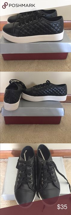 Black sneakers BRAND NEW Black laced 8.5 platform sneakers. So cute too big on me but they are brand new! Breckelles Shoes Sneakers