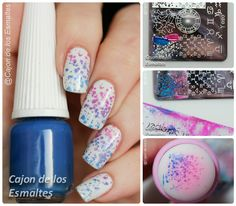 Gradient or ombre stamping nail art Pastel pink blue nails