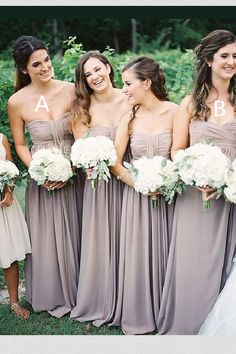 Long Bridesmaid Dresses For Wedding,Simple Bridesmaid Dresses,Pretty Bridesmaid Dresses,Chiffon Brid Hydrangea Bridesmaid Bouquet, Simple Bridesmaid Dresses, Grey Bridesmaids, White Wedding Bouquets, Wedding Dress Chiffon, Perfect Wedding Dress, Wedding Flowers, White Hydrangea Bouquet, Bridesmaid Gowns