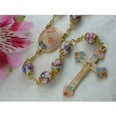 Hand Painted Glass Bead Rosary - Multicolored | The Catholic Company