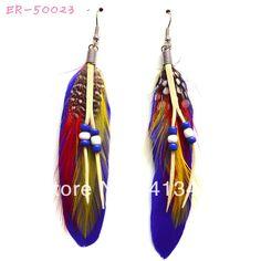Corda de couro com pérola brinco azul pavão colorido ER-50023