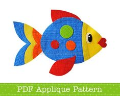 Fish applique template - instant download digital pattern {PDF file}. The applique template is an outline drawing of the design shapes that you can print on A4/letter size paper and trace onto your own materials to make iron on appliques, or you could even use the template to make