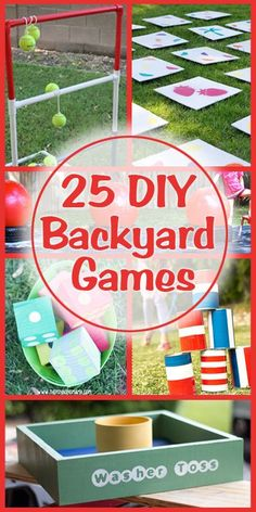 """25 DIY Backyard Games on Remodelaholic.com #summer #fun #play [   """"Lots of ideas to keep the family entertained with these 25 DIY backyard games!"""",   """"25 DIY Backyard Games - These look so cool and so fun! Wish I had a backyard!"""",   """"Great for parties and family reunions! 25 outdoor games you can DIY"""",   """" I might like this sight a little too much. And we were talking about bringing back the pig roasts sometime soon."""",   """"DIY Clothes Refashion: DIY Macrame Racerback from tshirts""""…"""
