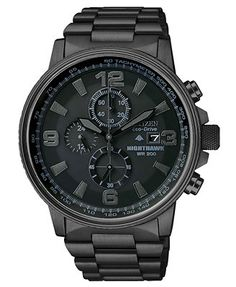 Citizen Men's Chronograph Eco-Drive Nighthawk Black Ion Plated Stainless Steel Bracelet Watch 43mm CA0295-58E