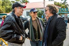 """Executive producer Stephen King, left, director Niels Arden Oplev and executive producer Jack Bender on the set of """"Under the Dome"""" in Wilmington, N.C. The CBS series debuts June 24. (Michael Tacktt, CBS / February 28, 2013)"""