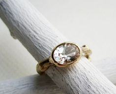 14K Yellow Gold Twig Ring with Oval White Topaz by EveryBearJewel