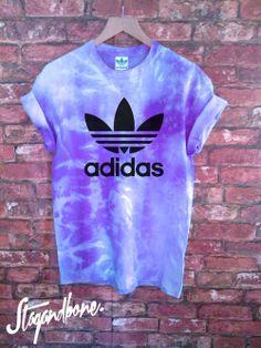 Purple and blue tye die adidas shirt