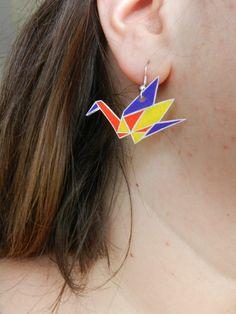 Boucle d'oreille origami / grue en plastique fou