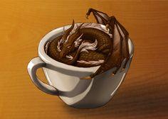 Coffee Dragon by fiannaValkyrie