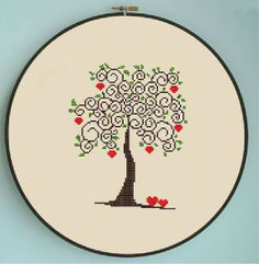 Counted cross stitch pattern, Instant Download, Free shipping, Cross-Stitch PDF, Love tree, Apple tree, Valentine's Day