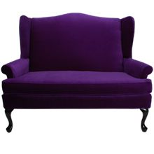 Purple Wingback Loveseat Elegant Hollywood Regency Style In Rich Velvet And Gloss Black Legs