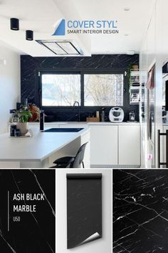 Want to replace your tiled kitchen splashback? To create an original splashback easily? Think of Cover Styl' adhesive films! This vinyl allows you to give your kitchen a new look. Kitchen cupboard, drawer, worktop, table, island, bar... Everything is possible! Save time and money, this is the solution to get a kitchen on a budget. Here is Deuxmilleneuf's kitchen makeover. The splashback has been decorated with a black marble effect adhesive covering. Get more ideas to change your kitchen design!