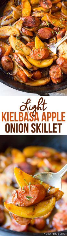 Amazing Light Kielbasa Apple Onion Skillet (Try Food Healthy Recipes) Sausage Recipes, Apple Recipes, Pork Recipes, New Recipes, Dinner Recipes, Cooking Recipes, Favorite Recipes, Healthy Recipes, Skillet Recipes