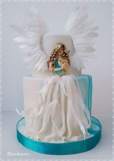 Sweet Angel by Blacksun - gateau :) - Cake Design Beautiful Birthday Cakes, Gorgeous Cakes, Pretty Cakes, Cute Cakes, Amazing Cakes, Birthday Cake For Man, Birthday Cupcakes, Birthday Ideas, Torta Angel