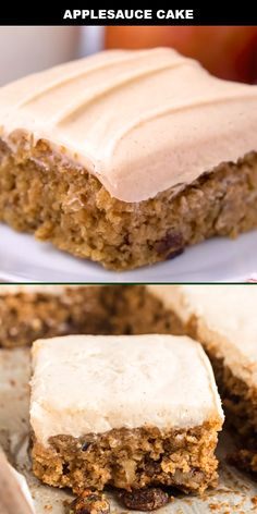 Moist and delicious, this old-fashioned applesauce cake is an irresistible favorite baked from scratch, just like grandma used to make! This simple, h. Köstliche Desserts, Delicious Desserts, Dessert Recipes, Easter Recipes, Homemade Cake Recipes, Cookie Recipes, Easy Homemade Cake, Spice Cake Recipes, Applesauce Cake Recipe