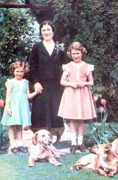 Queen Elizabeth, Princess Elizabeth and Princess Margaret