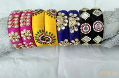 Silk thread bangles Colours can be customized To order whatsapp 8790245879 Silk Thread Bangles Design, Silk Bangles, Silk Thread Earrings, Thread Jewellery, Diy Jewellery, Bangles Making, Jewelry Making, Handmade Accessories, Handmade Jewelry