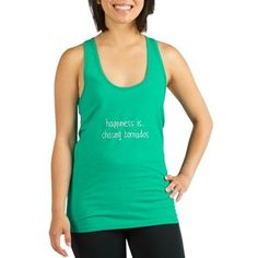 70a3a34803743 happiness is .. chasing tornados Racerback Tank Top