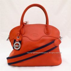 Longchamp Au Sultan Domed Satchel Leather Tote Paprika Orange New Made in France