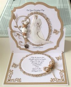 132 Best Wedding cards handmade images in 2020 Homemade Wedding Cards, Wedding Day Cards, Wedding Cards Handmade, Wedding Anniversary Cards, Happy Anniversary, Step Cards, Tattered Lace Cards, Spellbinders Cards, Engagement Cards