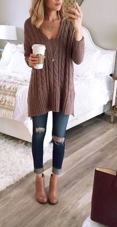 Taupe sweater + distressed denim.
