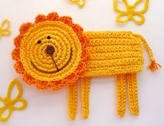 Crochet Lion Coaster the King of Jungle 1piece by MonikaDesign